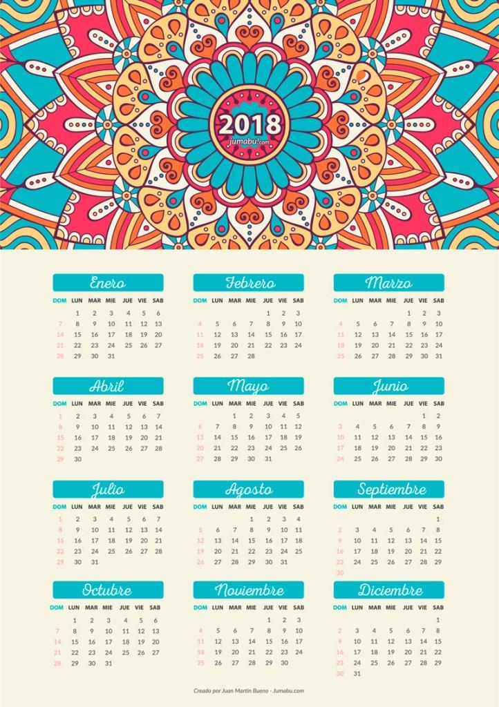 calendario 2018 gratis 722x1024 - Calendario 2018 para imprimir gratis