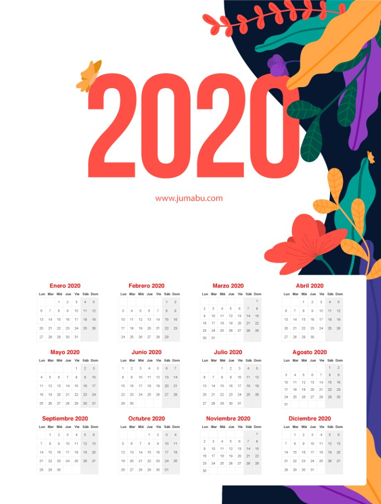 calendario 2020 imprimir 774x1024 - Calendario 2020 gratis para descargar