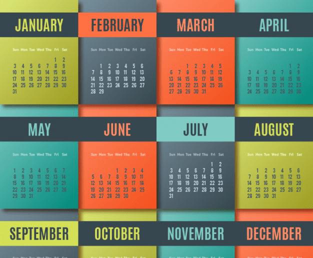 Calendarios 2016 coloridos para descargar e imprimir jumabu - Disenos de calendarios ...