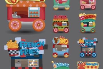 carritos panchos vectores - Carritos de Comidas Rápidas en Vectores con estilo Dibujos Animados