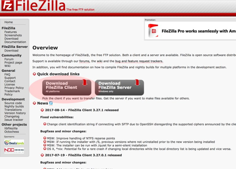 pantalla de descarga del programa filezilla