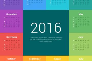 cuadrados coloridos almanaque 2016 - Creativo Almanaque 2016 para Imprimir