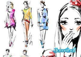 diseno de moda vectores dibujos - Dibujos, Ilustraciones Diseño de Moda en Vectores