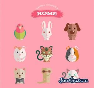domesticos animales plano vectoriales - Animales Domésticos en Vectores