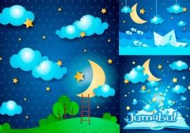 elementos nocturnos en vectores - Vectores de Noche, Luna, Estrellas, Nubes con Estilo Infantil