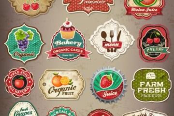 etiquetas logos comida - Inserts y Etiquetas Vectorizadas que Funcionan como Logos de Negocios de Comida