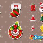 etiquetas navidad varias vectores campanas - Varias Figuras Navideñas en Vectores