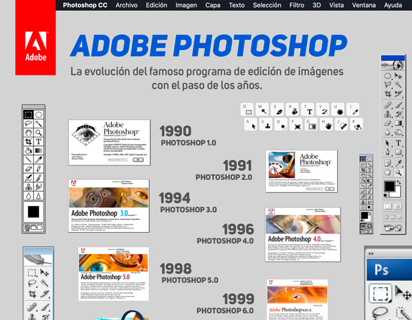 evolucion photoshop - La evolución de Adobe Photoshop año tras año