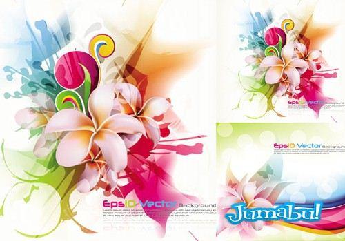 flores coloridas vectores free - Flores Super Coloridas en Vectores