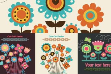 flores coloridas vectores - Flores Coloridas Vectorizadas