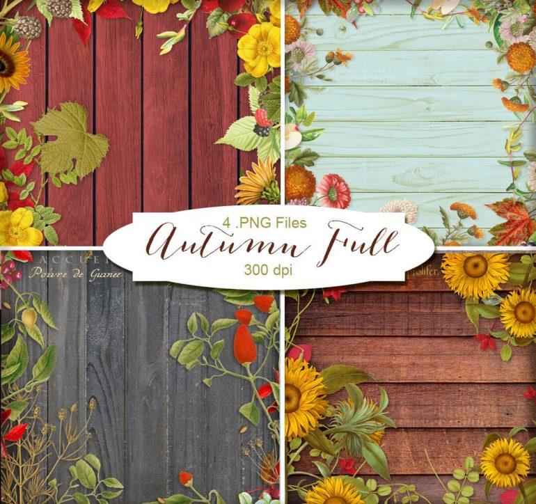 fondos otono madera vegetacion e1473862369196 - Imágenes HD de maderas decoradas con flores