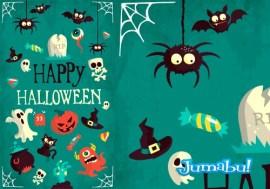 halloween vector monstruos - Vectores para Halloween con Efecto Plano