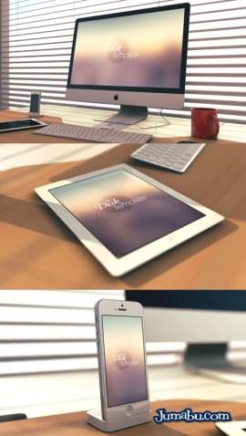 iPad Template psd - Mock Up de iMac, iPad e iPhone para Presentar Nuestros Diseños Webs