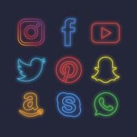 Descarga Iconos de las redes sociales con efecto luces de neón