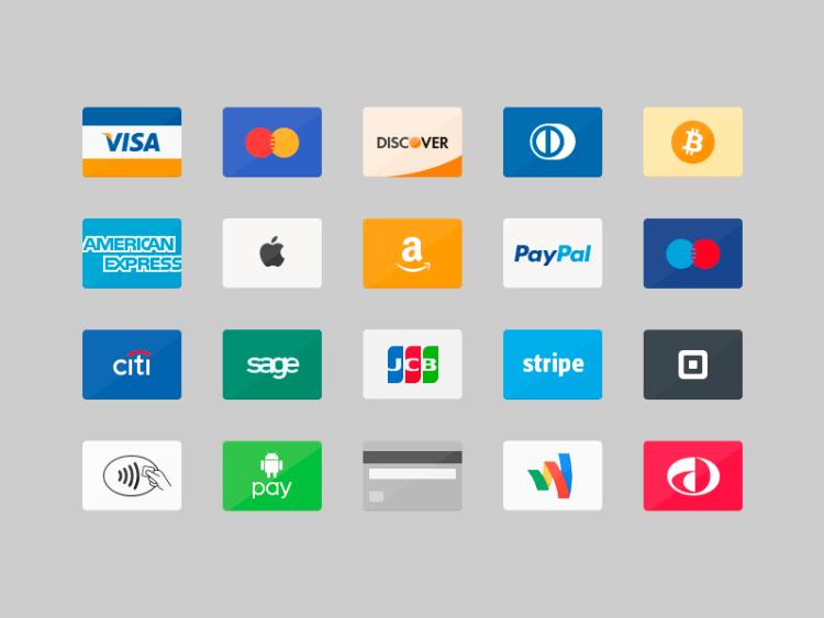 Iconos de tarjetas de crédito en PSD | Jumabu