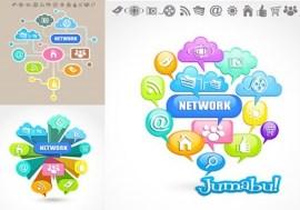 iconos nube redes coloridos - Iconos en Vectores de Redes y Conexiones