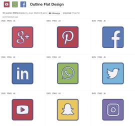 iconos outline redes sociales - Iconos Gratuitos de Redes Sociales con estilo Outline Flat Design