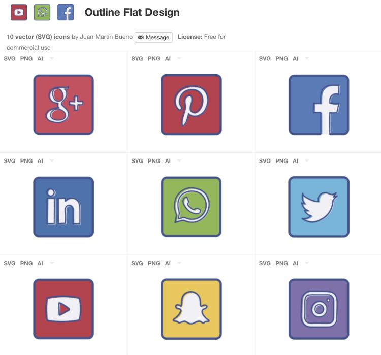 Iconos Gratuitos De Redes Sociales Con Estilo Outline Flat Design