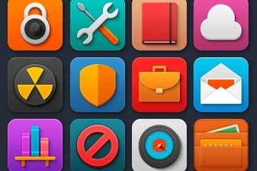 iconos planos flat shadow - Pack de 40 Iconos Coloridos en PNG y PSD