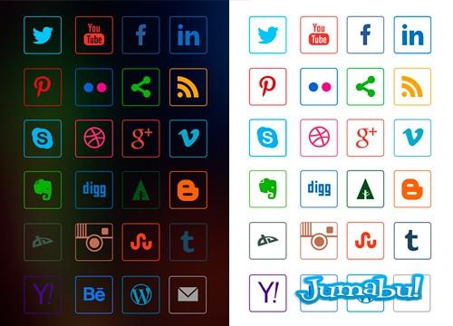 iconos-sociales-lineales-vector