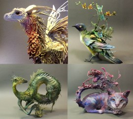 incredible fantasy sculptures - Espectaculares Esculturas de Animales por Ellen Jewett