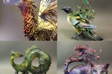 incredible fantasy sculptures - Espectaculares Esculturas de Animales por Ellen Jewett