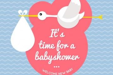 invitacion babyshower ciguena - Invitación para Babyshower en vectores