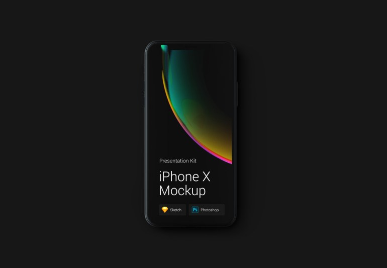 iphone x negro plantilla 1024x709 - iPhone X Mockups en PSD para descargar