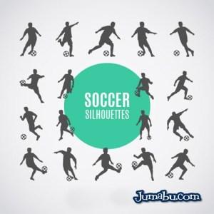 jugadores de futbol siluetas descargar gratis - Siluetas de Jugadores de Fútbol en Vectores para Descargar