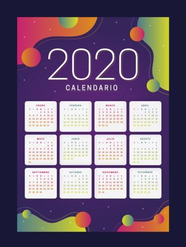 jumabu com calendario 2020 colorido - Colorido calendario 2020 en español para imprimir