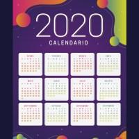 Colorido calendario 2020 en español para imprimir