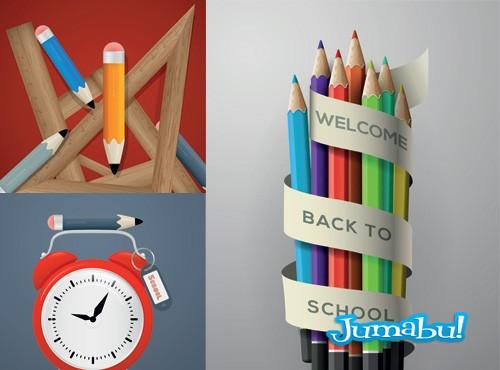 lapices relojes vectores - Lápices, Reglas, Reloj Despertador n Vectores