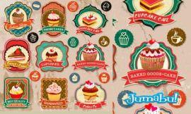 madalenas cackes donuts vectores - Etiquetas de Cackes en Vectores
