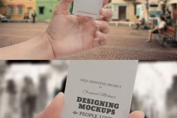 mock up tarjetas de presentacion con mano - Mock Up Tarjetas de Presentación con Mano