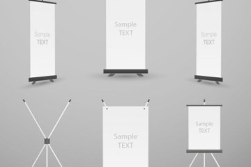 mockup banner vertical vectorizado - MockUp en Vector de Banners de Pié o Pendones de Pié