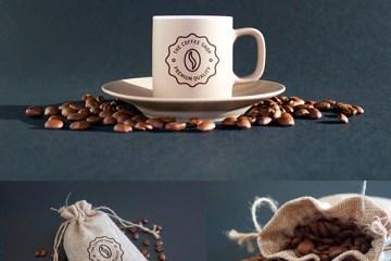 mockup bolsa cafe - Mockup de taza de café y bolsa de granos de café