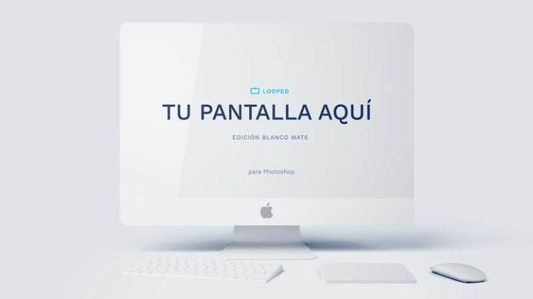 mockup iMac blanco mate - Fantásticos Mockups de distintos dispositivos en color blanco mate
