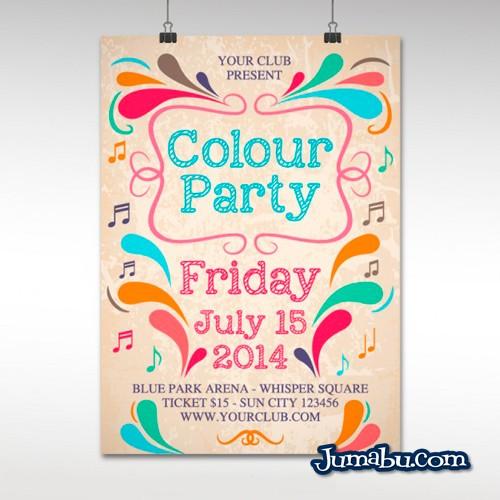mockup poster verano primavera fiesta - Mock Up de Poster o Afiche Colorido Fiesta en Vectores
