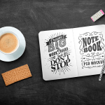 mockup sketchbook board - Maqueta de Sketchbook en PSD