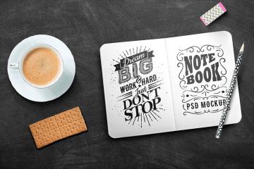 mockup sketchbook board - Maqueta de Sketchbook en PSD