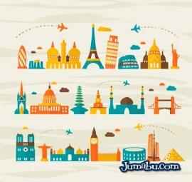 monumentos viajes aereos vector turismo - Monumentos de Ciudades Importantes con Estilo Plano