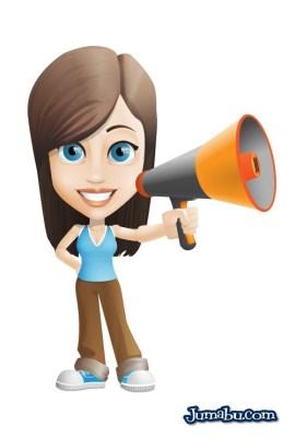 mujer megafonos vector - Mujer con Megáfono Vectorizada