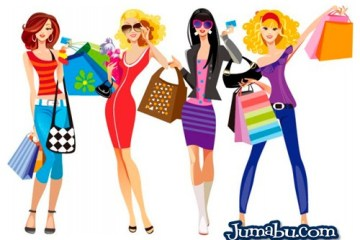 mujeres de compras vectorizadas - Mujeres de Shopping en Vectores