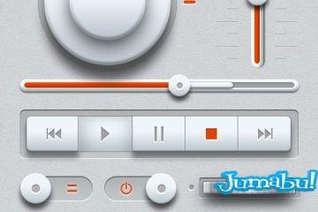 music ui elements psd - Elementos Multimedia con Detalles en Blanco en PSD