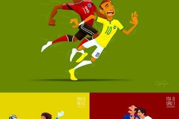 neymar golpe brasil 2014 - Dibujos del Mundial de Fútbol Brasil 2014