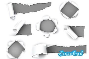 papel rasgado roto efecto - Papel Arrancado, Rasgado, Agujereado en Vectores