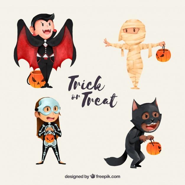 Descarga personajes de halloween en vectores
