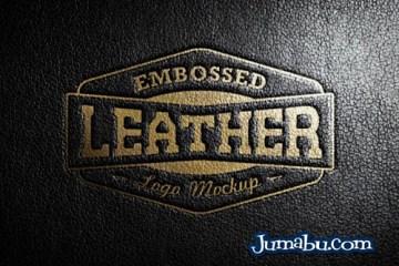 plantilla cuero logo relieve - Mock Up en PSD Logo sobre Textura de Cuero