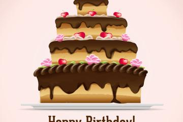 postre torta cumpleanos vectores - Torta de Cumpleaños en Vectores