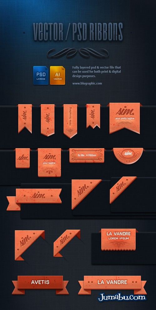 ribbons-psd-vectores